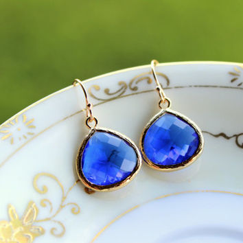 Large Blue Cobalt Earrings Gold Pendant - Cobalt Blue Wedding Earrings - Bridal Earrings - Bridesmaid Earrings - Bridesmaid Jewelry Wedding