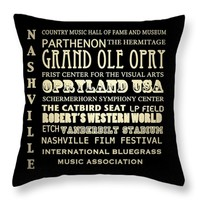"Nashville Tennessee Throw Pillow 14"" x 14"""