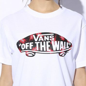 VANS 2019 early spring new splash classic skateboard print women's short-sleeved T-shirt white