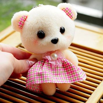 10cm Cute Lovely Cartoon Bear Keychain Pendant Doll Phone Small Pendant Kawaii Baby Children Kids Toys for Children Plush Toys