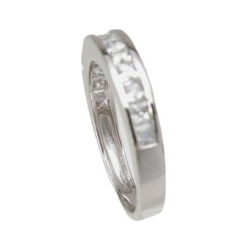 Plutus Brands 925 Sterling Silver Wedding Band 0.3 Carat Weight- Size 6