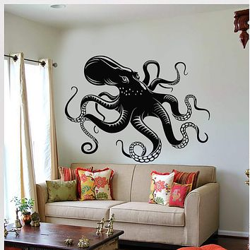 Vinyl Wall Decal Octopus Tentacles Marine Creatures Kraken Stickers Unique Gift (637ig)