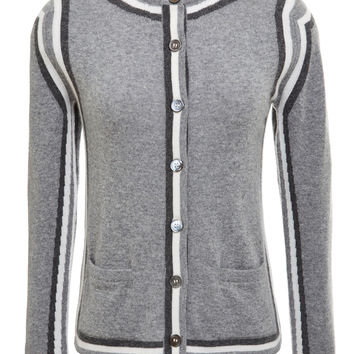 Classic Crewneck Slim Fit Cardigan In Light Grey Cashmere