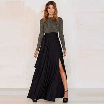 Women Waist Tunic Skirt Side Slits Long Fashion Party Skirt Pleated  Skirts