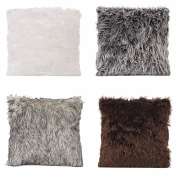 Nosii  45*45cm Simple Luxury Fluffy Fur Pillowcase Pillowslip Cushion Cover Home Hotel Bedding Office Sofa Car Seat Soft Warm