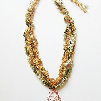 Trellis Yarn Necklace, Ladder Yarn Necklace, Ribbon Yarn Necklace, Copper Pendant, Gold And Green
