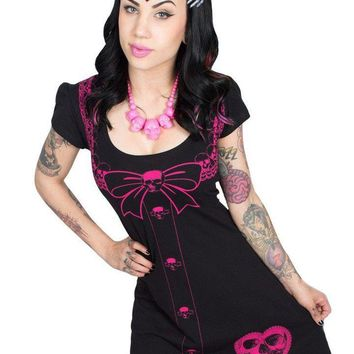 "Women's ""Serial Killer"" Flare Dress by Kreepsville 666 (Black/Pink)"