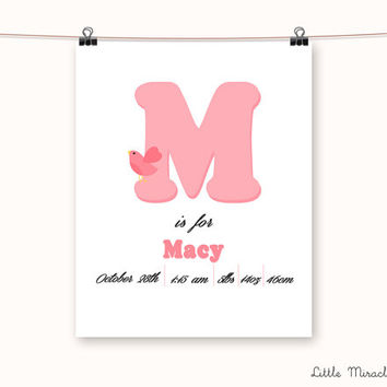 Macy, Bird, Fine Art Paper, Baby Name, Baby Poster, Name Print, Baby Sign, Initial Print, Kids Wall Art, Baby Nursery [G1G13]