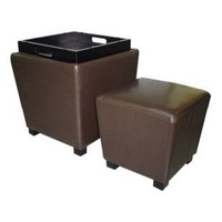 Gavin Faux Leather Tapered Storage Ottoman Set- Brown - Ottomans at Hayneedle