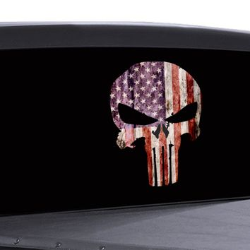 Punisher Skull Window Decal American Flag Vinyl Graphic Military Dodge Ford