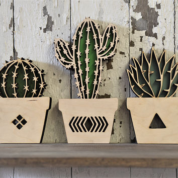 Cactus Set of 3 Wood Cut Wall Art Sign Decor Boho Nusery Home Pool Room