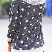 Long Sleeve Star and Lace Sweatshirt