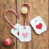 Valentines heart tags - gift tags - packaging supplies - valentines gift  bakers twine