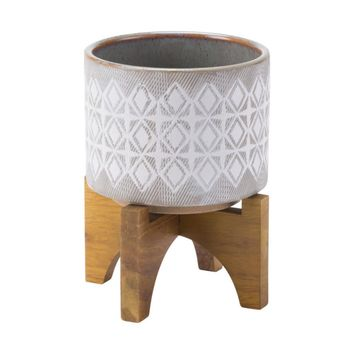 Ceramic Planter With Wooden Base Small, In Gray And White