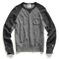 Contrast Sleeve Sweatshirt in Salt and Pepper