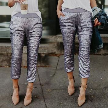Light Silver Patchwork Sequin Pockets Sparkly High Waisted Nine's Pants