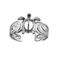 SILVER 925 HAWAIIAN HONU SEA TURTLE SCROLL TOE RING CUT OUT SCALLOP EDGE RHODIUM
