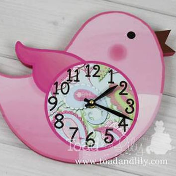 Kids Wall Clock Paisley Bird Bedroom Nursery Wall Clock WC0008