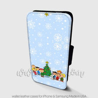 Charlie Brown Snoopy Wallet iPhone Cases Inspired Christmas Samsung Wallet Cases