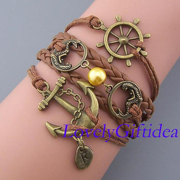 Bronze Anchor mermaids steering wheel bracelet Custom pendants Double mermaid with pearl jewelry Custom bracelet leather brown string,gift