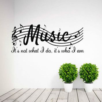 Music Is Not Wall Quote Decal Vinyl Word Dance Musical Notes Room Wall Sticker
