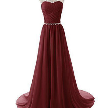 Cap Sleeves Chiffon Long Prom Evening Dresses ED0675