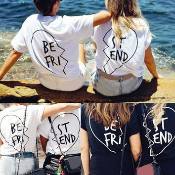 Best Friend T-Shirt - ST-END/BE-FRI Love Matching Shirts BFF Tee Tops Blouse US