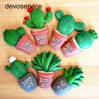 5Pcs/set Cactus Plants Fridge Magnets Kawaii Cute Decorative Refrigerator Magnetic Sticker Office Supplies Household Products