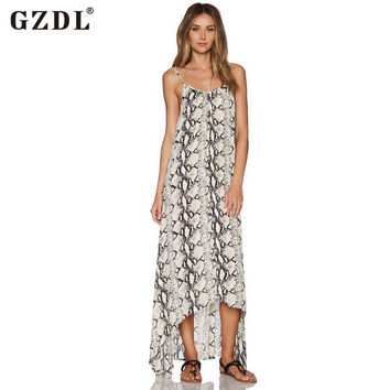 GZDL Sexy Women Loose Boho Summer Beach Spaghetti Strap Sleeveless Chiffon Long Maxi Dress Backless Sundress Vestidos CL2699