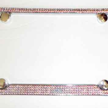 Custom Chrome Stainless Steel Palm Trees License Plate Frame with Swarovski Crystals and Chrome Fastener Caps