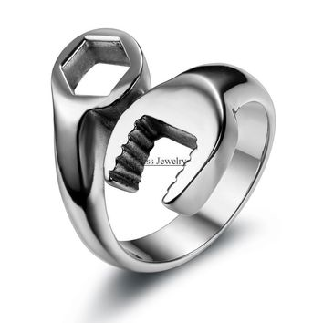 Fashion Cool Biker Mechanic Wrench Stainless Steel Mens Ring Punk Style Rings for men Size 8-13