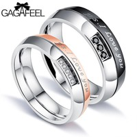 GAGAFEEL Zircon Couple Rings 316L Titanium Steel For Men Couple Ring Romantic Gift Arc Type