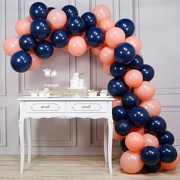 artyWoo Party Balloons, 80 pcs 12 Inch Navy Blue Balloons Coral Balloons Peach Balloons Blush Balloons, Navy Party Decorations, Coral Birthday Decorations, Peach Wedding Decorations, Blush Decor