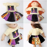 """bitty baby clothes, 18"""" doll, Cabbage Patch 16"""" kids, Halloween Skirt T shirt 2p"""