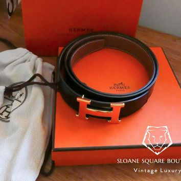 HERMES BLACK BELT SWIFT LEATHER BELT WYTH GOLD PLATED H **HARRODS** BRAND NEW