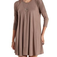 Dropped Shoulder Trapeze T-Shirt Dress