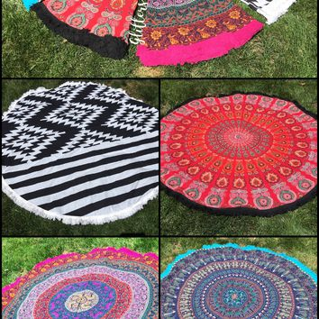 CLEARANCE Light weight Mandala Tapestry with matching tassels
