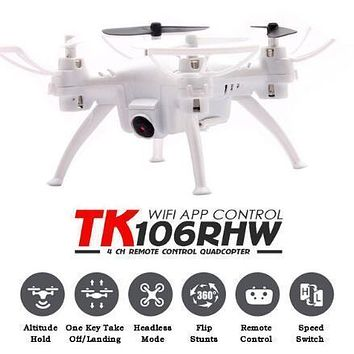 Original TK106RHW With Transmitter 4CH 6-axis Wifi FPV 0.3MP Camera Drone Waypoints Altitude Hold G-sensor RC Mini Quadcopter