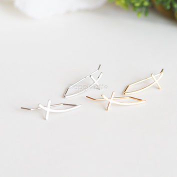 Sideways Cross Ear Pin Earrings,  Simple Minimalist Ear Climbers , line Ear Crawlers, climbing stud ear pins, pierced ear cuffs_1 pair