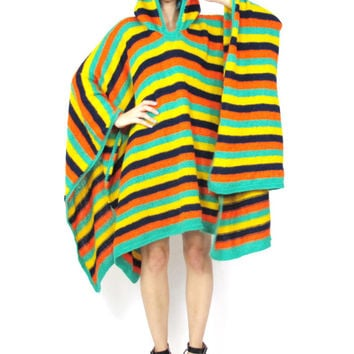 70s Knit Poncho Cape Hooded Boho Hippie Sweater Colorful Striped JumperWinter Draped Cape Elf Festival Blanket Coat (L/XL)