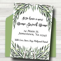 Change of address card - PRINTABLE moving card - New home card - Moving announcement - New home announcement - Greenery we've moved card