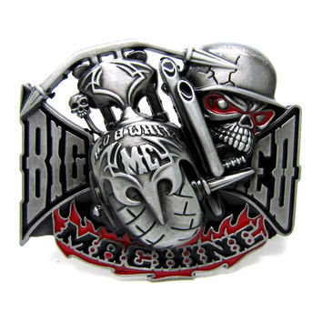 Big Red Machine Belt Buckle Motorcycle Biker