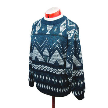 Winter Patterned Sweater / Ugly Christmas Sweater Hipster Sweater Knit Sweater 90s Clothing Indie Sweater Vintage Sweater Oversized Sweater