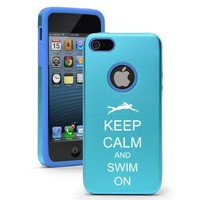 Apple iPhone 5c Light Blue CD5584 Aluminum & Silicone Case Cover Keep Calm and Swim On Swimmer