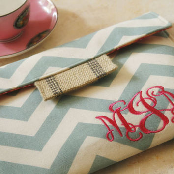 Monogrammed Personalized15 MacBook Air/Pro Case, laptop cover, macbook sleeve, gadget cases and covers in Blue Chevron