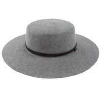 Grey Wool Wide Brim Hat with Leather Band