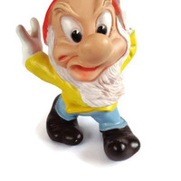 Grumpy . Rubber Squeaky Toy . Snow White Dwarf . Gnome .  Walt Disney. Squeak Toy .