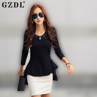 2016 Women Sheer Lace Blouse Office Spring Tops Long Sleeve Floral Slim Fitted Blusas Shirt Peplum Top Black Plus Size CL1648