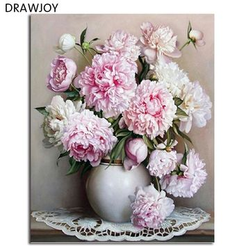 DRAWJOY Framed Pink Flower And Vase DIY Painting By Numbers Wall Art DIY Canvas Oil Painting Home Decor For Living Room