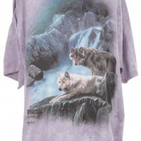 Lilac Cotton Tie Dye Wolf T-shirt - Vintage clothing from Rokit -